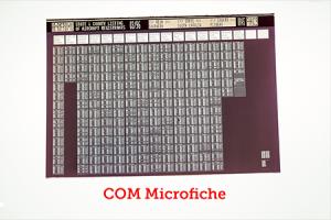 COM Fiche (Computer Output Microfilm)